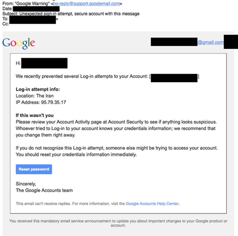 Email falso continha suposta solicitaçao de reset de senha.