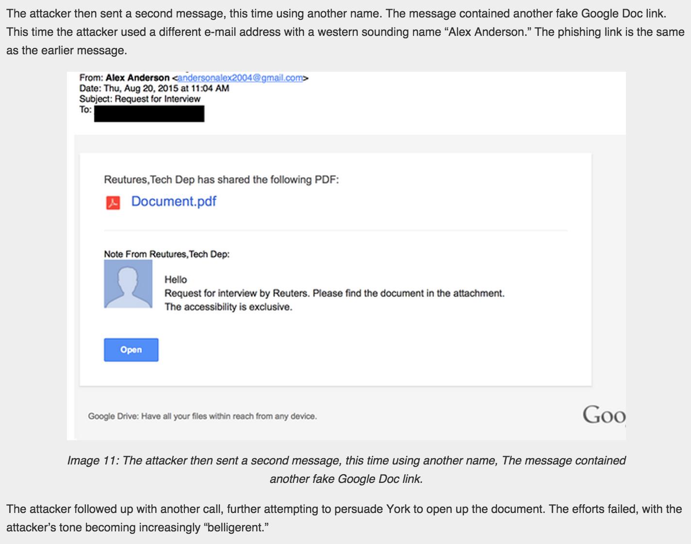 Mensagem de phishing simulava contato para entrevista