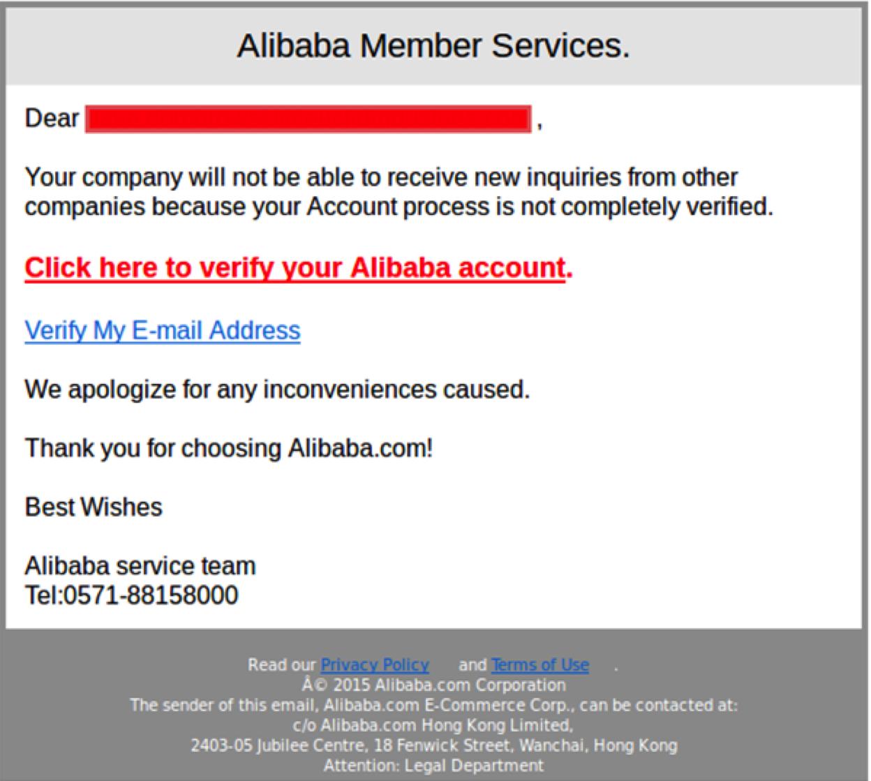 El Pescador Alibaba Phishing